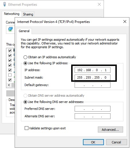 entering IP address and subnet mask showing how to Transfer Files From Laptop to Laptop in Windows 10