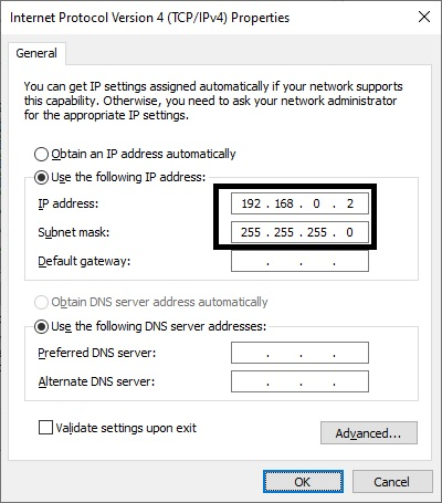 entering the IP address and subnet mask in computer B