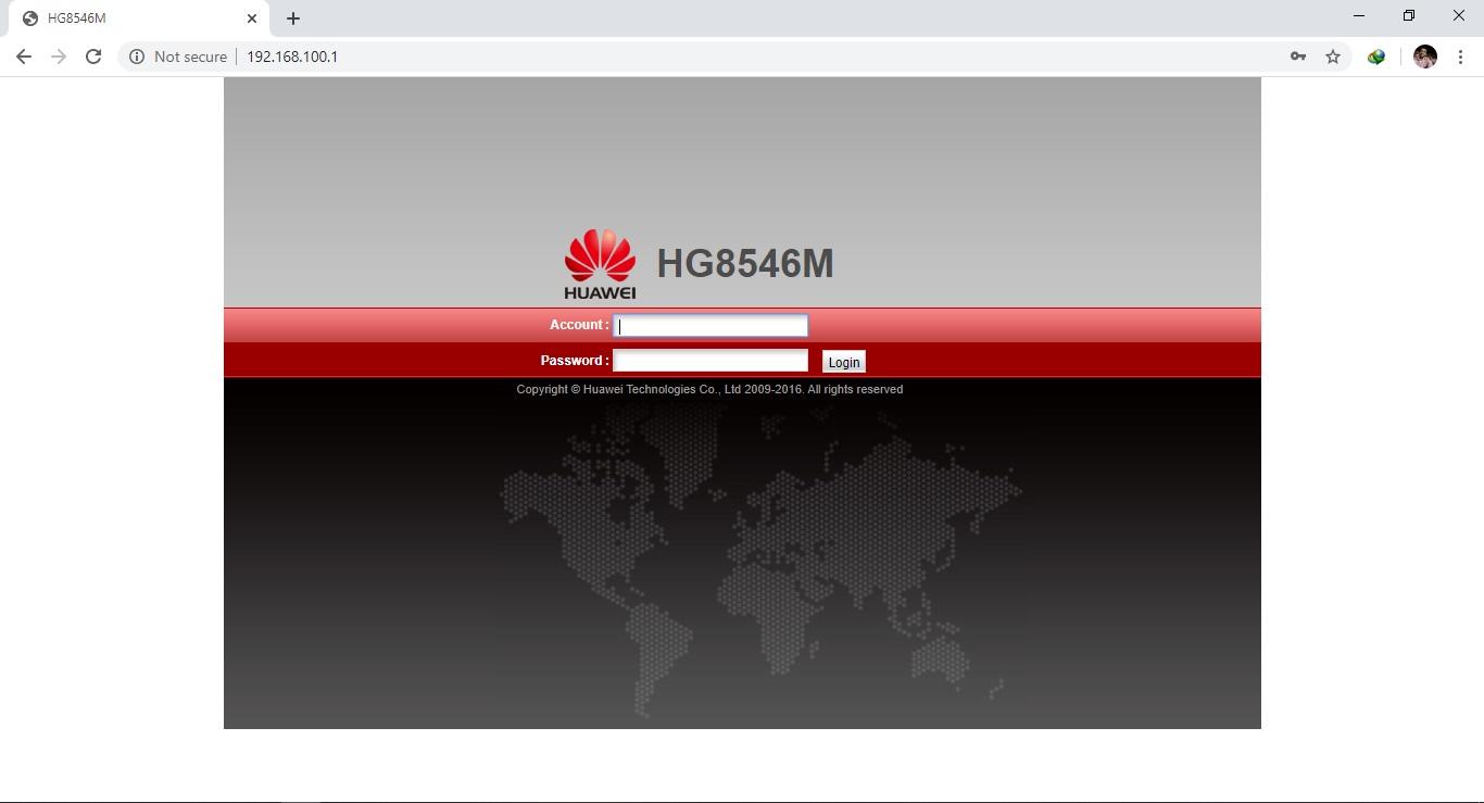 Login screen of web interface of StormFiber Huawei HG8546M router