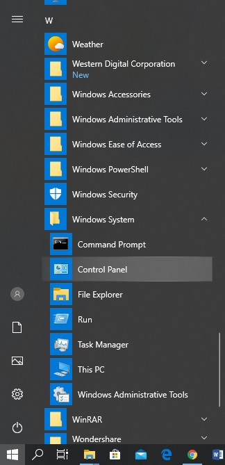 control panel in start menu windows 10
