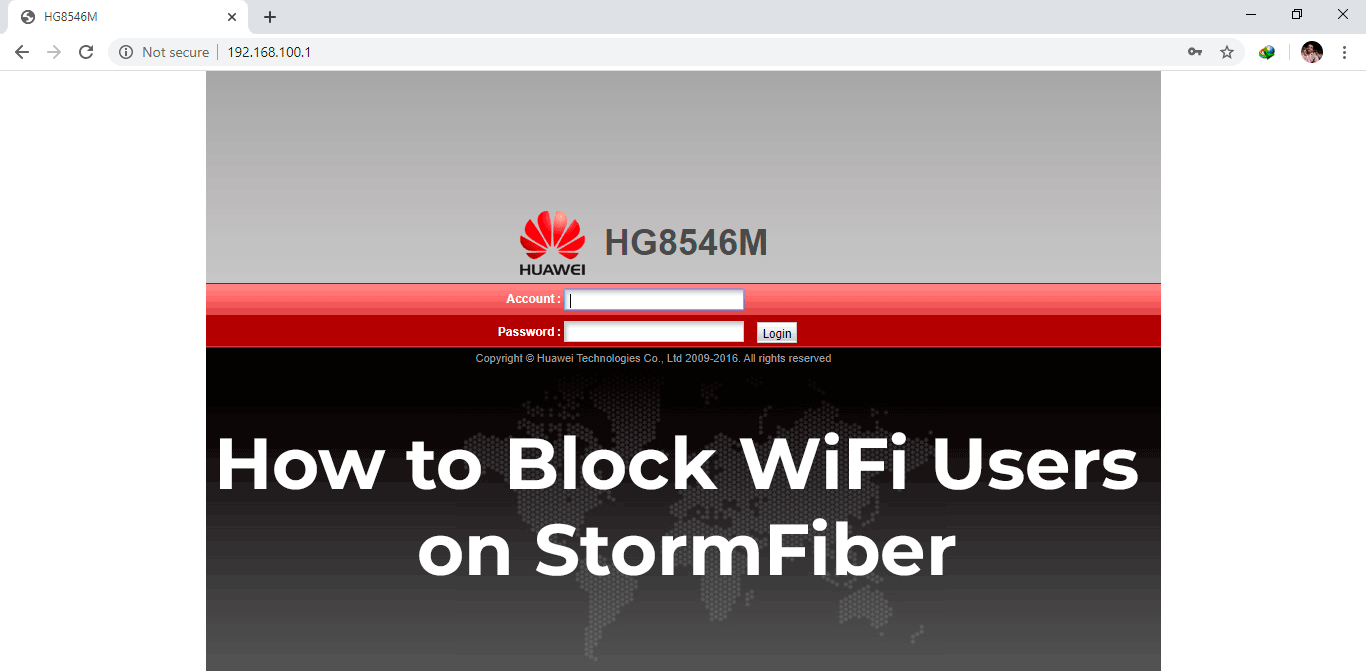 Block WiFi users devices on StormFiber Huawei HG8546M router