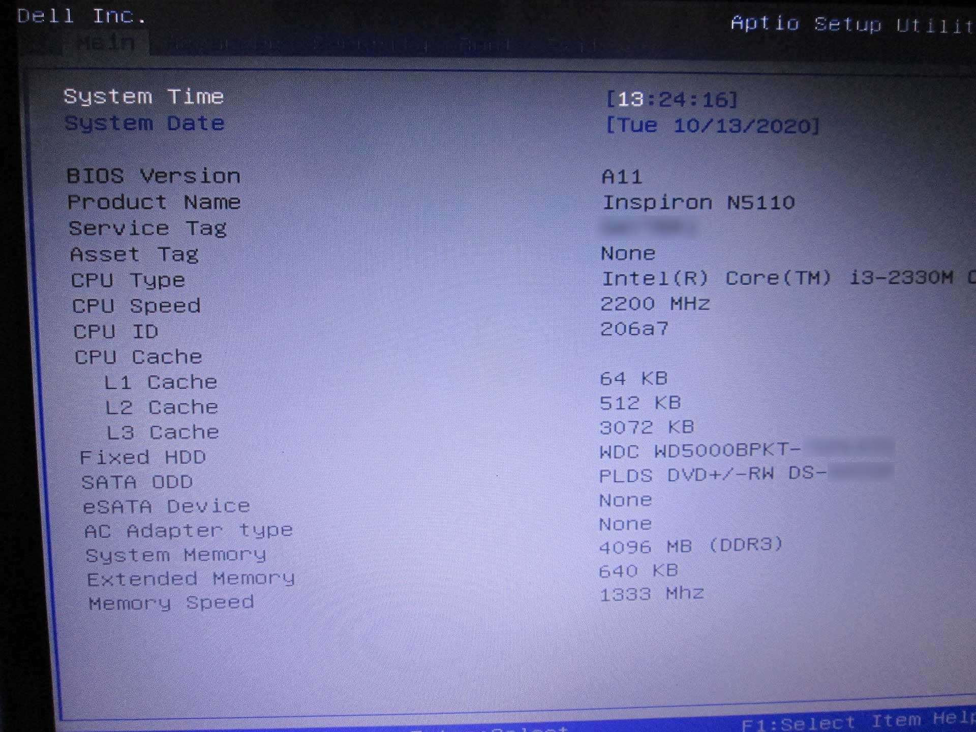 Dell Inspiron N5110 laptop's motherboard running 1600 MHz memory module at 1333 MHz speed