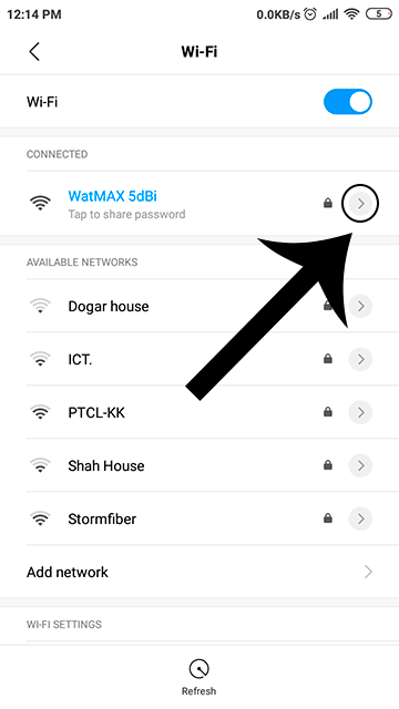 Opening network details of a WiFi network Android phone