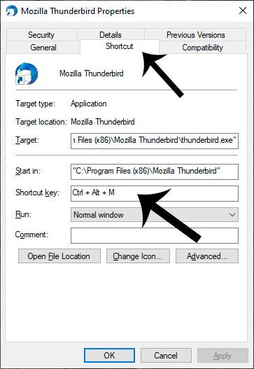 Create Keyboard Shortcut Key. Setting the Shortcut Key for Mozilla Thunderbird.