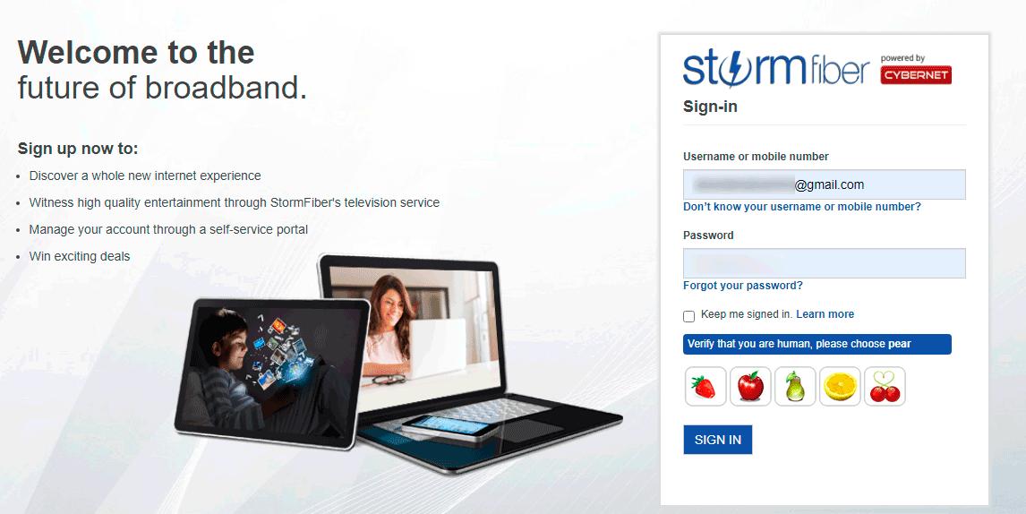 my.stormfiber.com StormFiber Portal