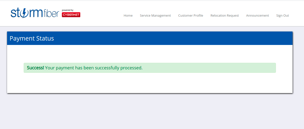 Webpage showing a message payment processed successfully