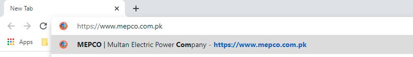 Entering mepco website address in address bar of Google Chrome web browser