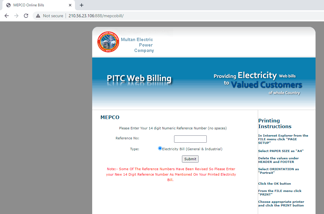 MEPCO Duplicate Bill Website being managed by PITC. Enter your reference number.