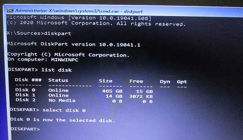 The figure shows running DiskPart Utility Program in command prompt